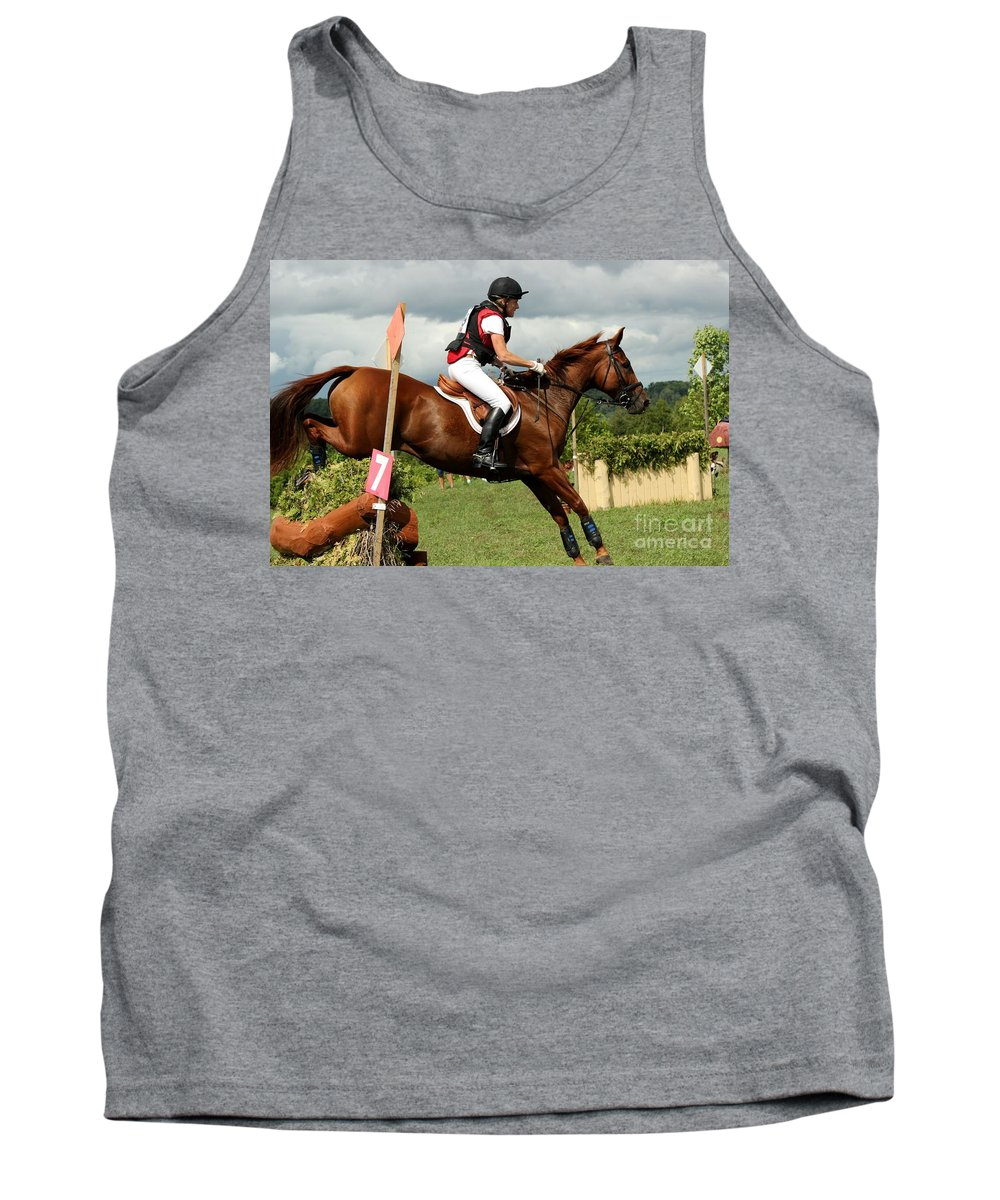 Horse Tank Top featuring the photograph End Of The Jump by Janice Byer
