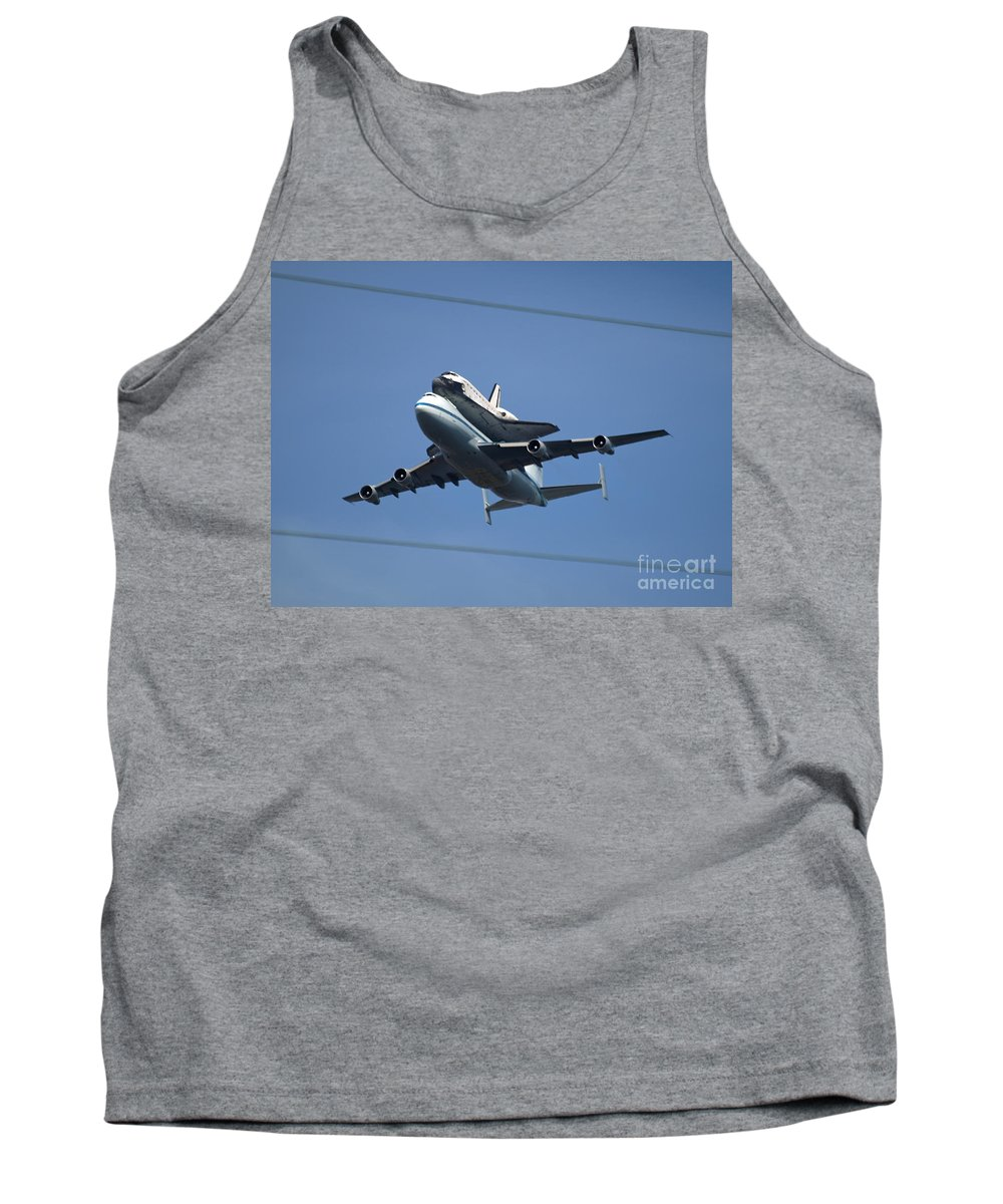 Endeavour Tank Top featuring the photograph Endeavour Over Moffett Field by Jacklyn Duryea Fraizer