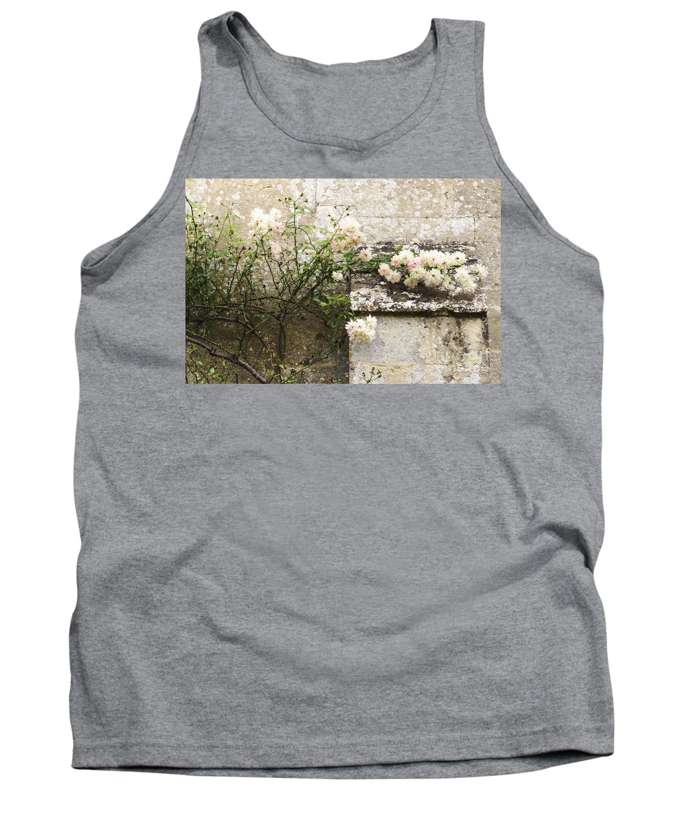 Floral; Flora; Flowers; Rose; Roses; Bush; Vine; Climb; Climbing; Pink; Green; Blue; Stone; Fa�ade; Building; Architecture; White; Aged; Decay; Branches; Tall; Roof; Wall; Side; Green; Leaves; Beautiful; Pretty; Lovely; Serene; Feminine; English Rose; Cultivated; Bunch; Group; Calm Tank Top featuring the photograph English Roses II by Margie Hurwich