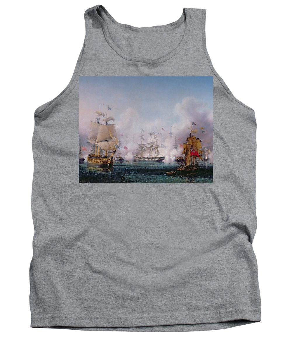Boat Tank Top featuring the painting Episode Of The Battle Of Navarino by Ambroise-Louis Garneray