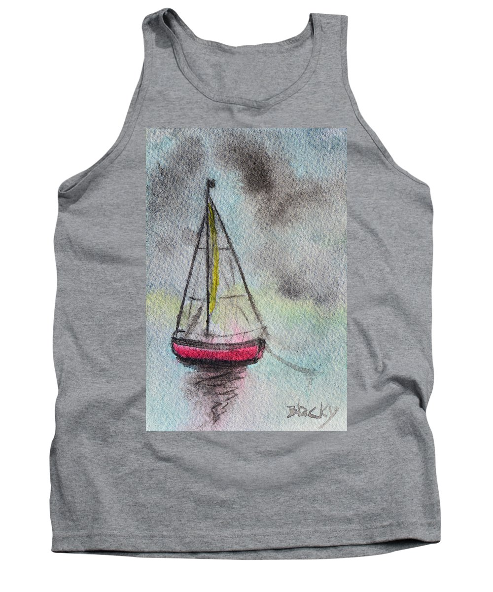 Boat Tank Top featuring the painting Evening Calm by Donna Blackhall