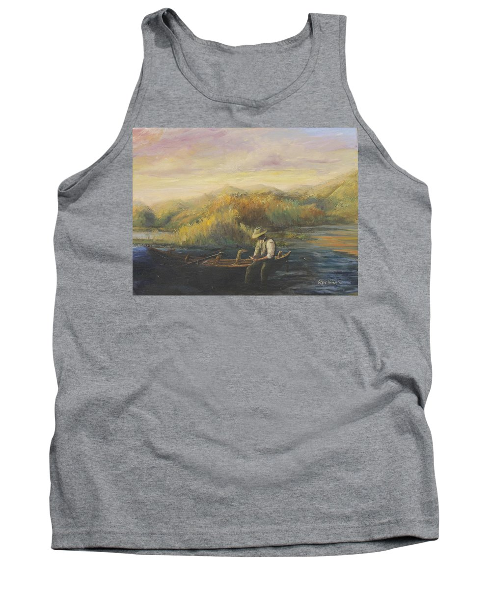 Fly Fishing Tank Top featuring the painting Evening Selection by Steve Haigh