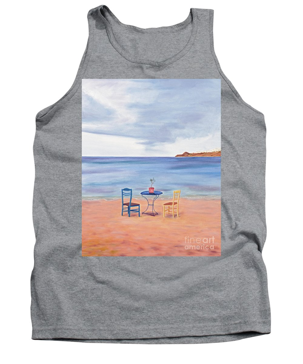 Fall Tank Top featuring the painting Fall In Mykonos by Nicolas Nomicos