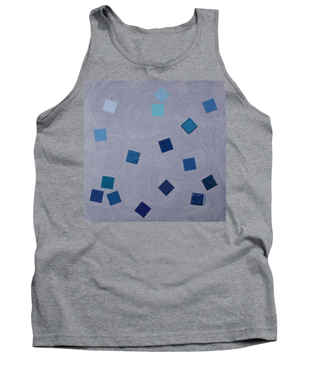 Abstract Tank Top featuring the painting Falling Blue Squares by David Mayeau