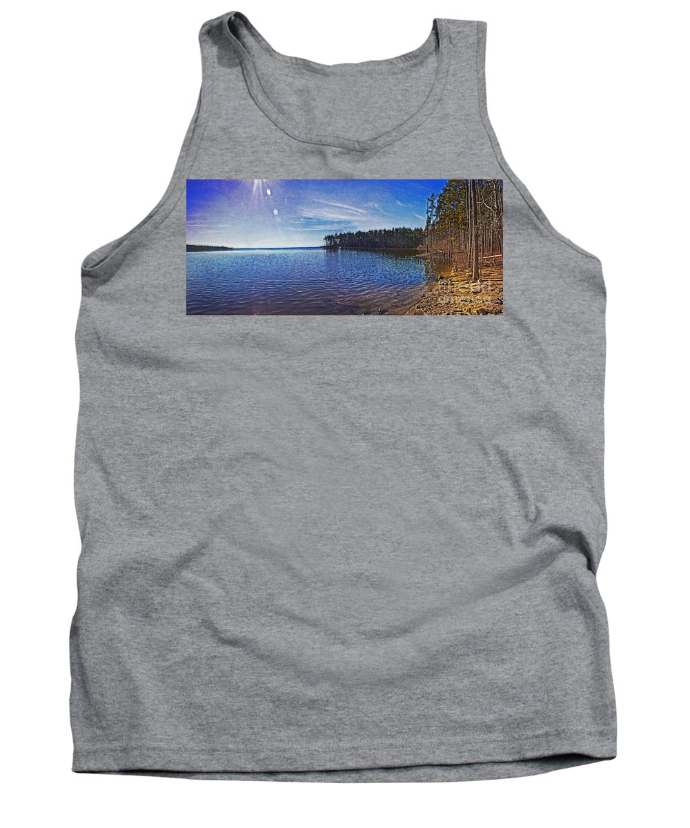 Nature Tank Top featuring the photograph Falls Lake Panoramic by Tom Gari Gallery-Three-Photography