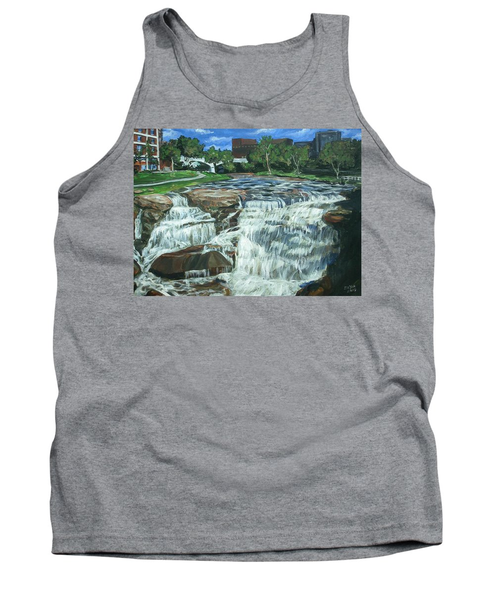 Waterfall Tank Top featuring the painting Falls River Park by Bryan Bustard