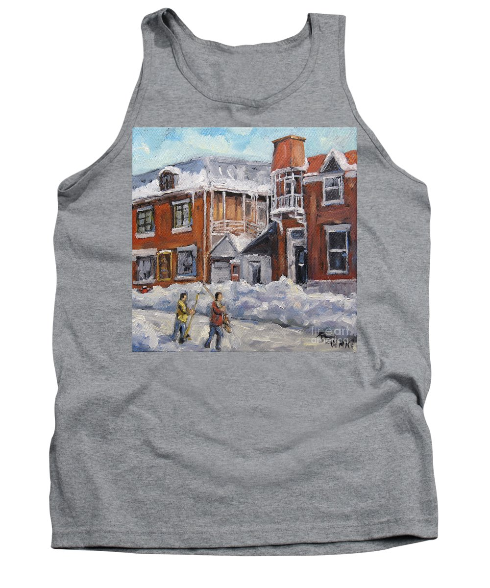 Mini Oil Painting Hockey Players Playing On Theirs Back Lane Yar Tank Top featuring the painting Faubourg A Melasse Montreal - Joys Of Winter By Prankearts by Richard T Pranke