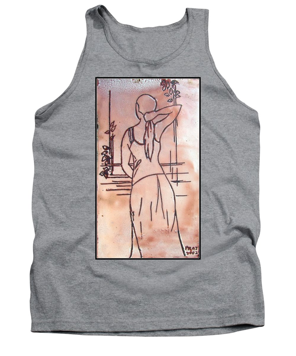 Female Tank Top featuring the painting Female Enamel On Copper by Prajakta P