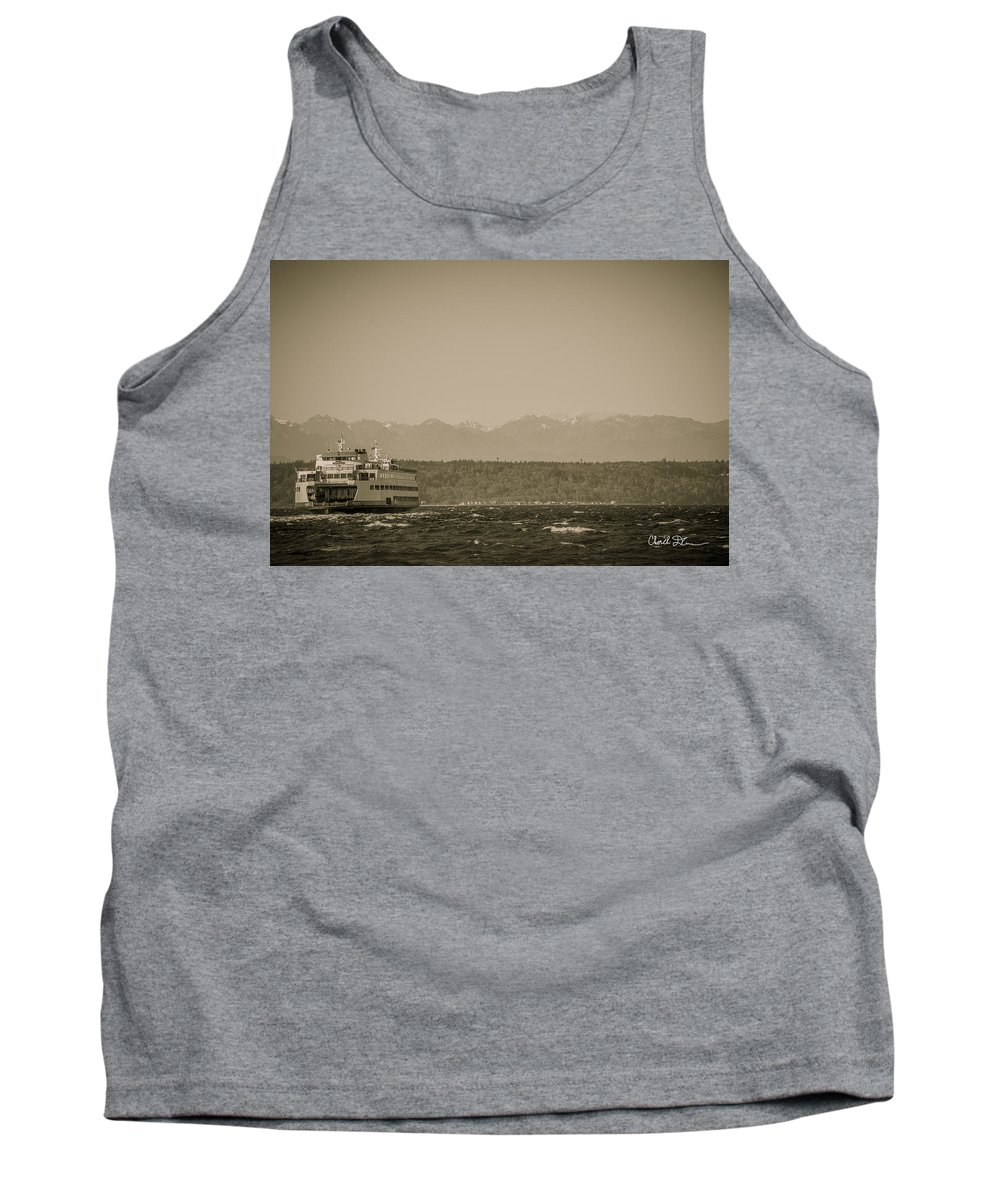 Rough Tank Top featuring the photograph Ferry In Rough Water Heading Toward The Olympics by Charlie Duncan
