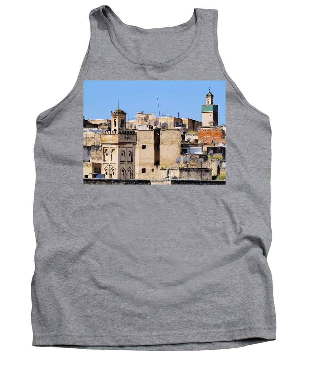 Aerial Tank Top featuring the photograph Fes Cityscape In Morocco by Karol Kozlowski