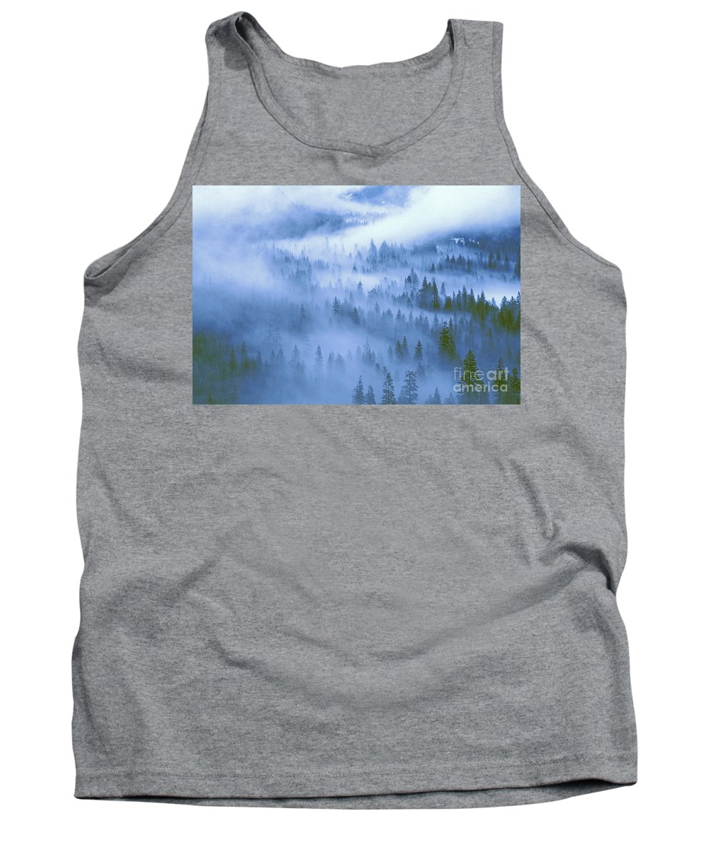 North America Tank Top featuring the photograph Fir Trees Shrouded In Fog In Yosemite Valley by Dave Welling