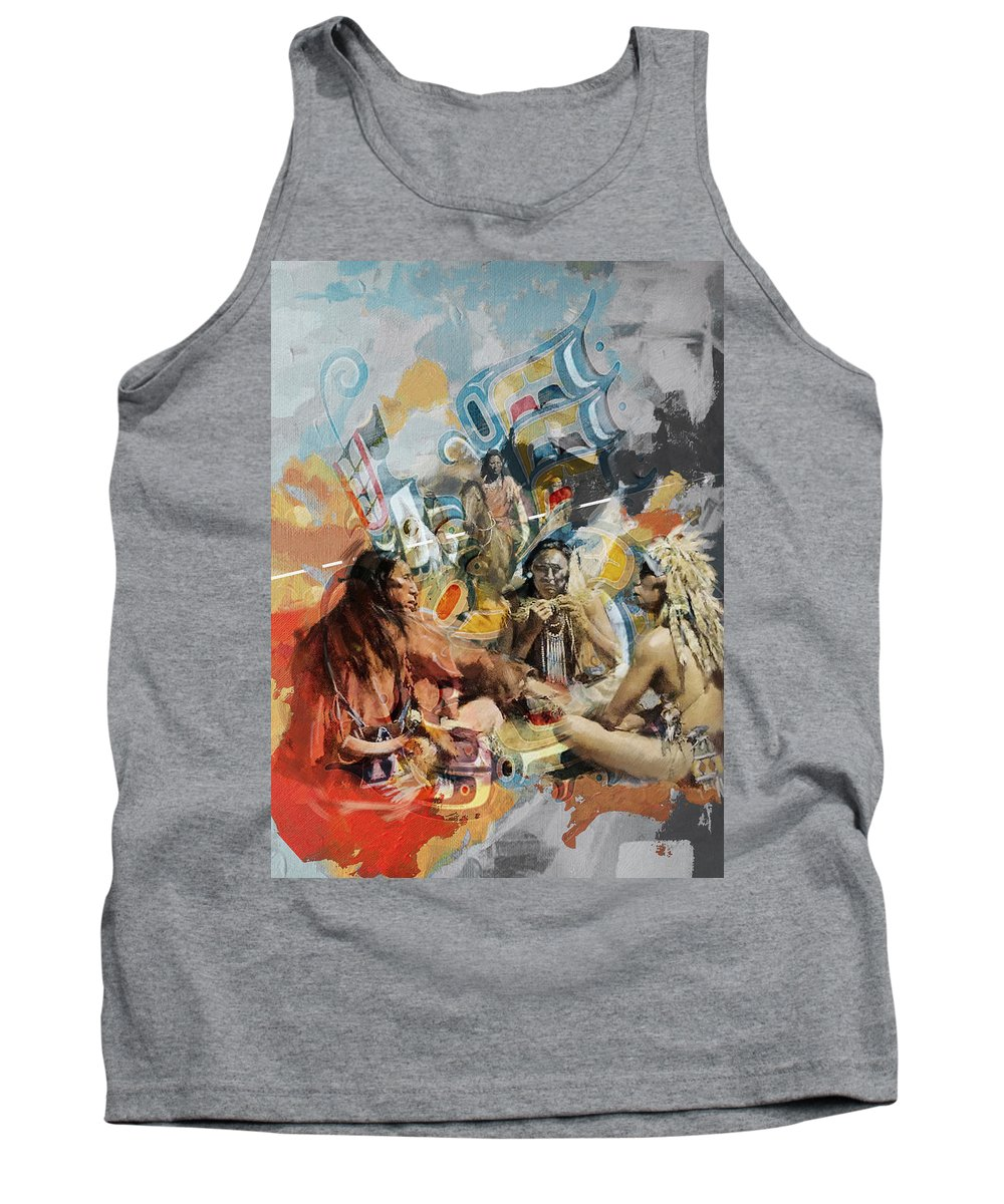 Aboriginals Tank Top featuring the painting First Nations 42 by Corporate Art Task Force