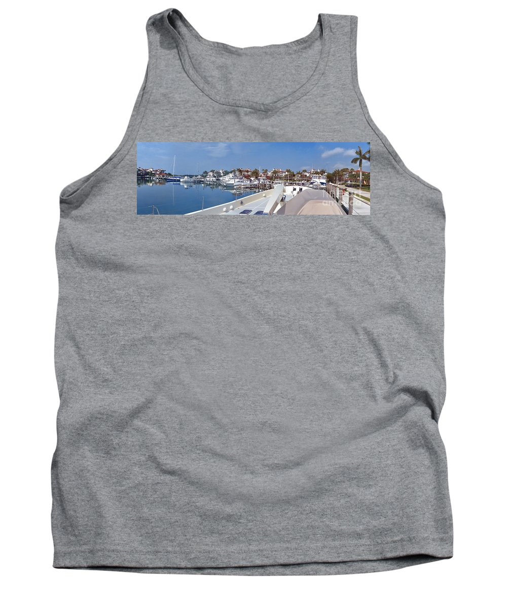 Fisher Island Tank Top featuring the photograph Fisher Island Private Marina Miami Florida Panorama by David Zanzinger
