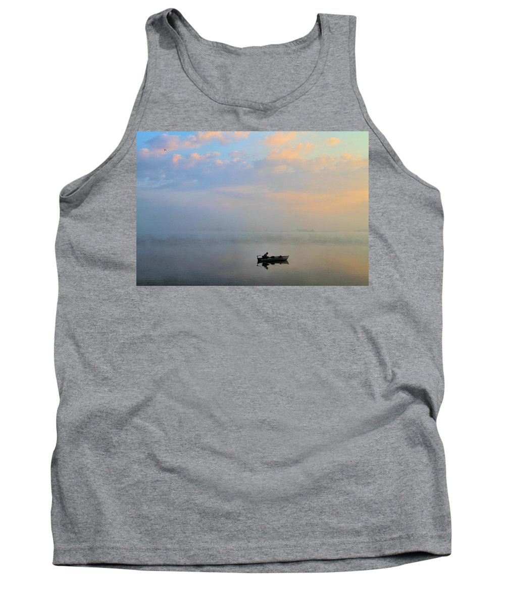 Solitude Tank Top featuring the photograph Fisherman's Solitude In Ohio by Dan Sproul