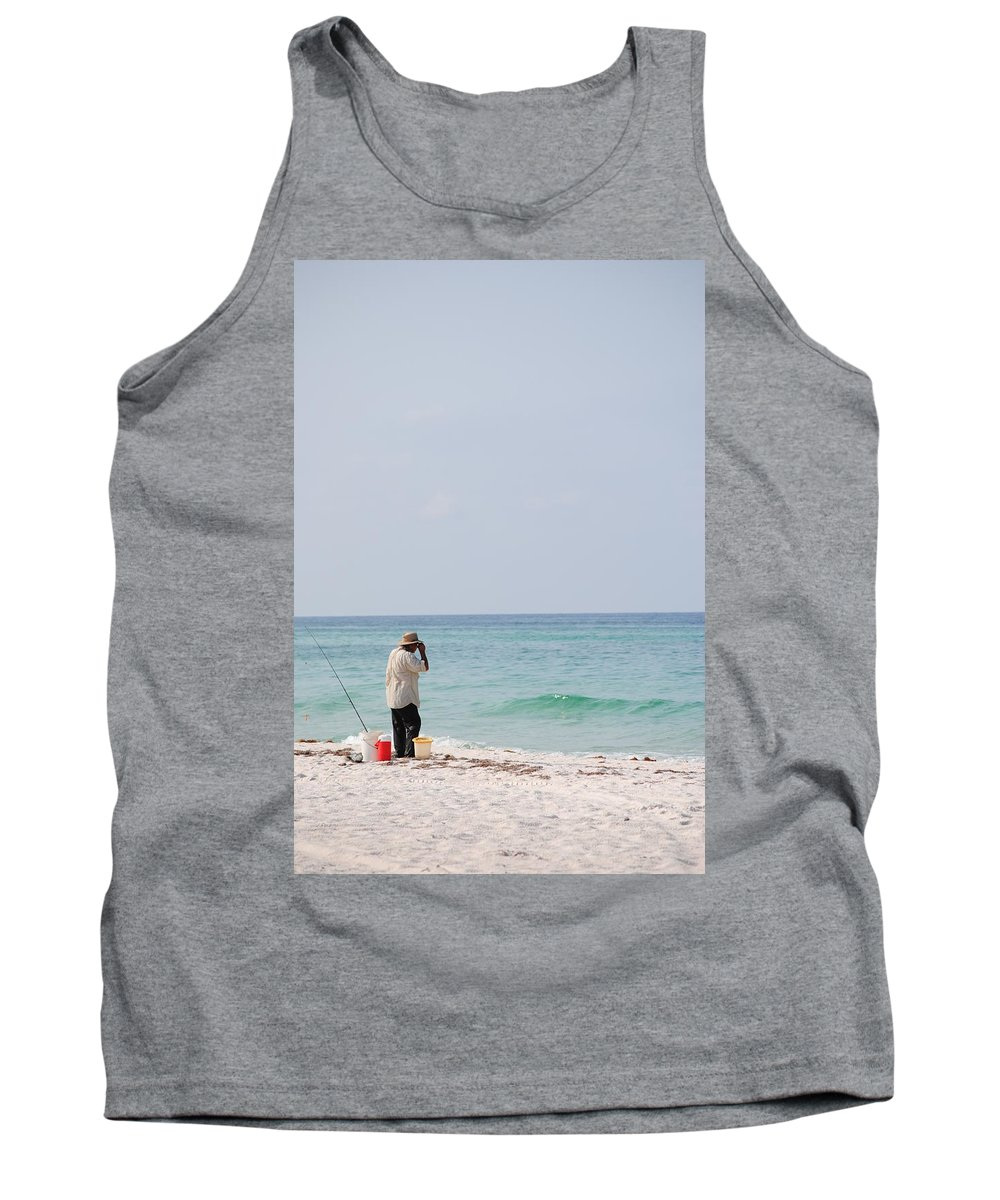 Fishin On The Beach Tank Top featuring the photograph Fishin On The Beach by Charlie Day