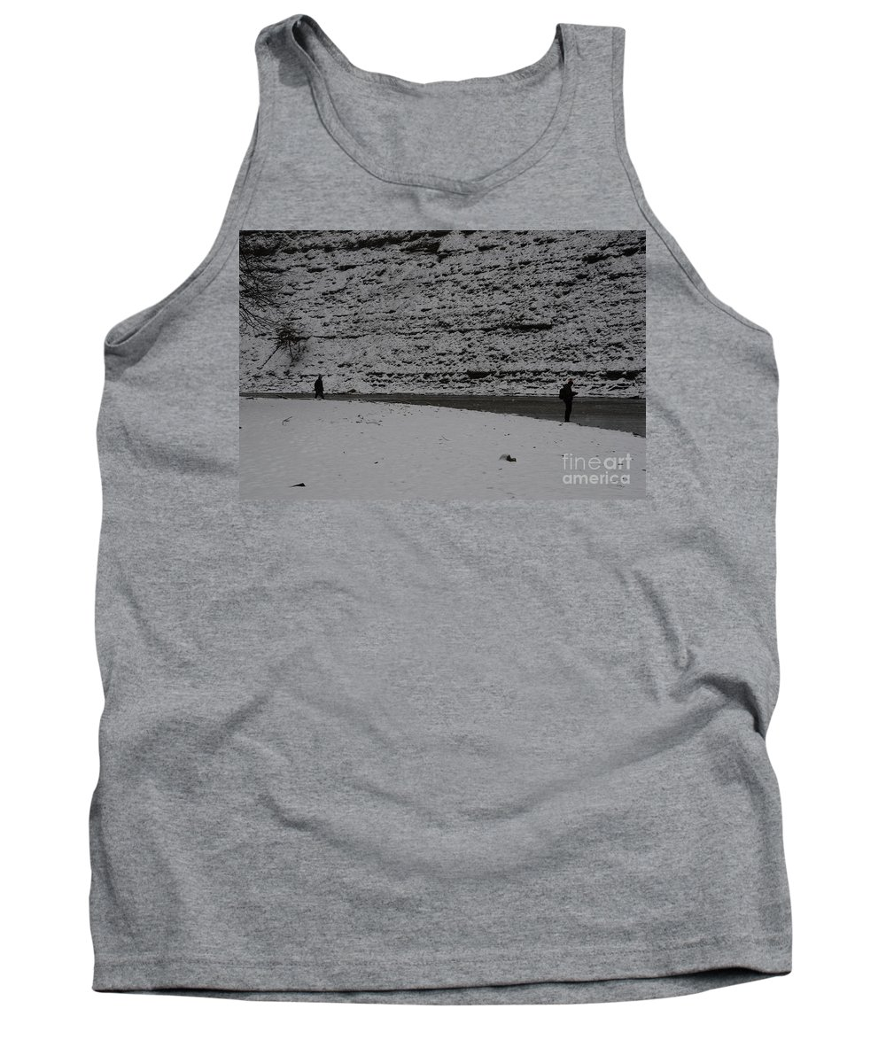 Fishing In The Snow Tank Top featuring the photograph Fishing Serenity by Randy J Heath
