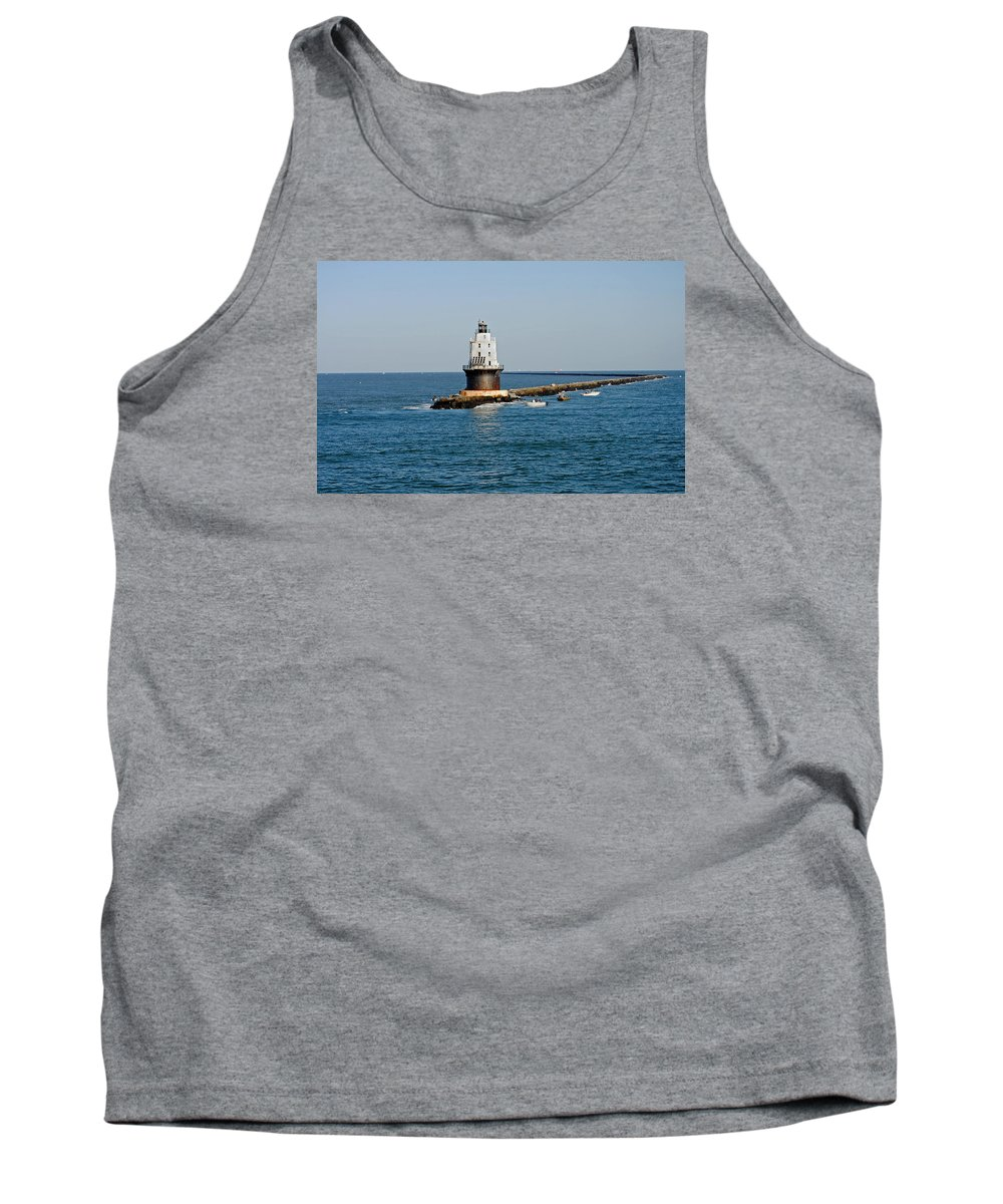 De Tank Top featuring the photograph Fishing The Breakwater by Skip Willits