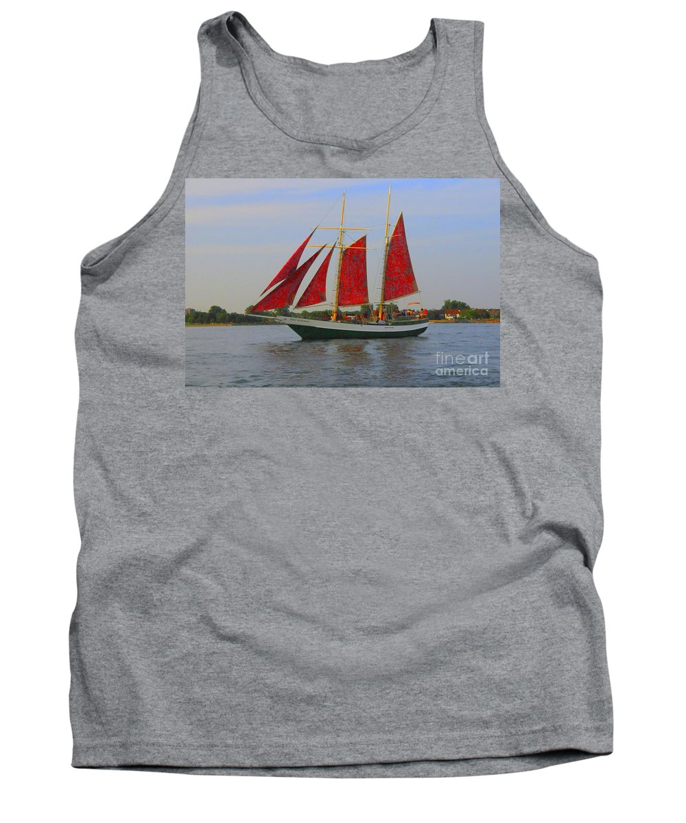 Sails Tank Top featuring the photograph Five Red Sails by Kathleen Struckle