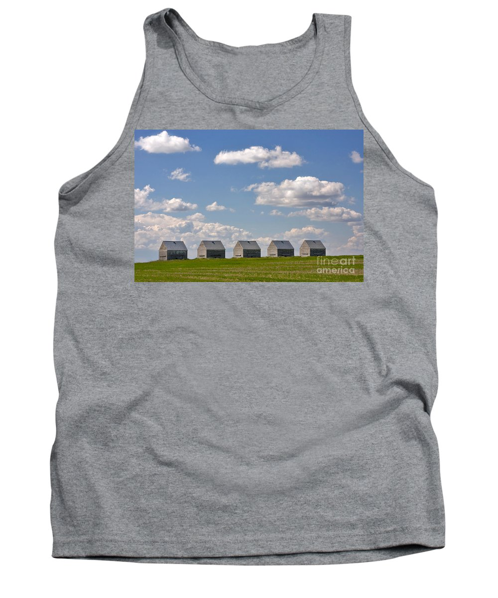Landscape Tank Top featuring the photograph Five Sheds On The Alberta Prairie by Louise Heusinkveld