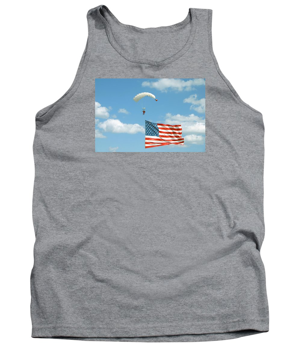 Skydiver Tank Top featuring the photograph Flagdiver by Scott Perkins