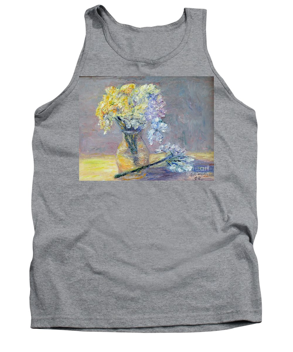 Palette Knife Tank Top featuring the painting Flowers by Alina Martinez-beatriz