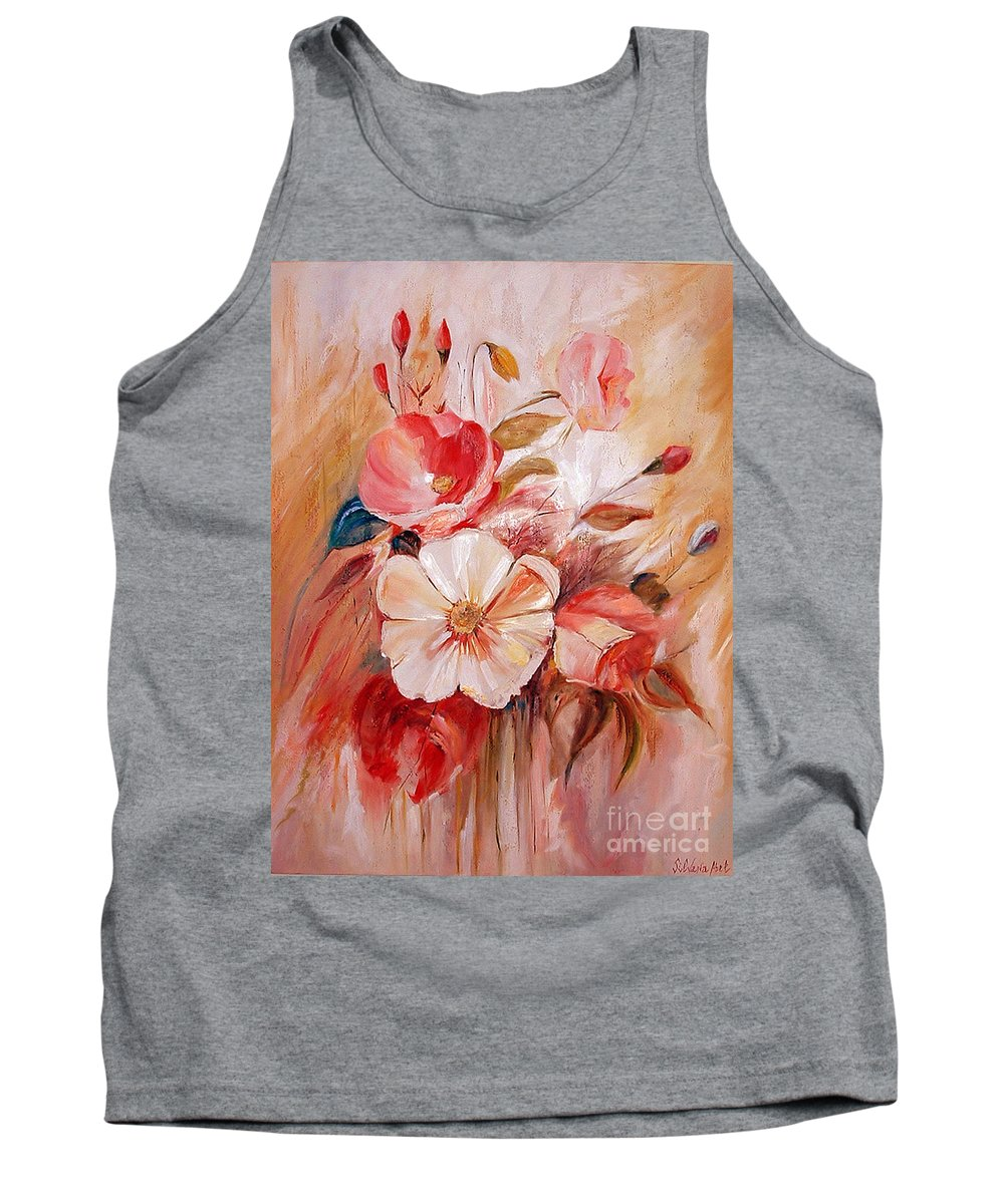 Modern Art Tank Top featuring the painting Flowers I by Silvana Abel