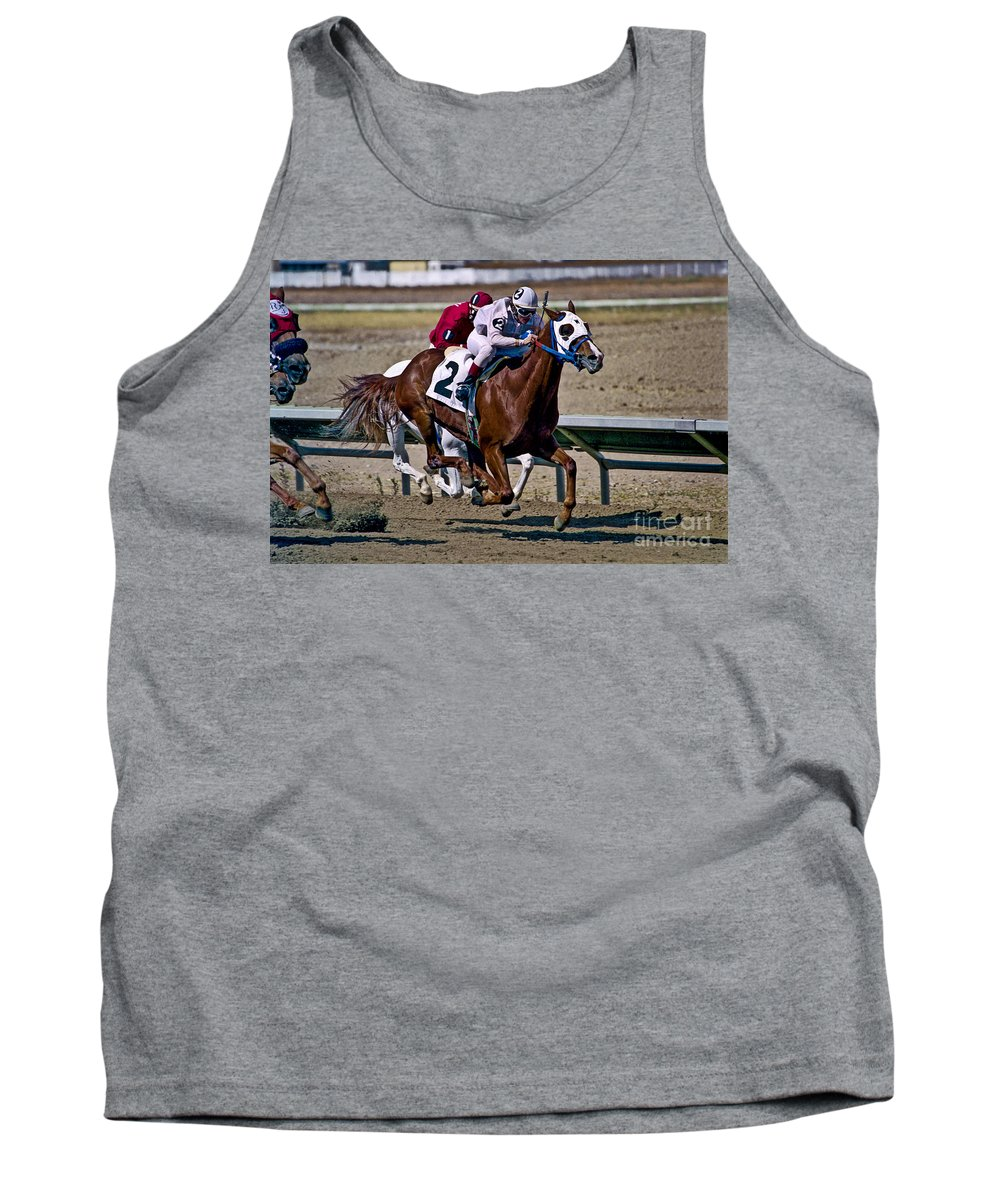Racing Tank Top featuring the photograph Flying Hooves by Kathy McClure