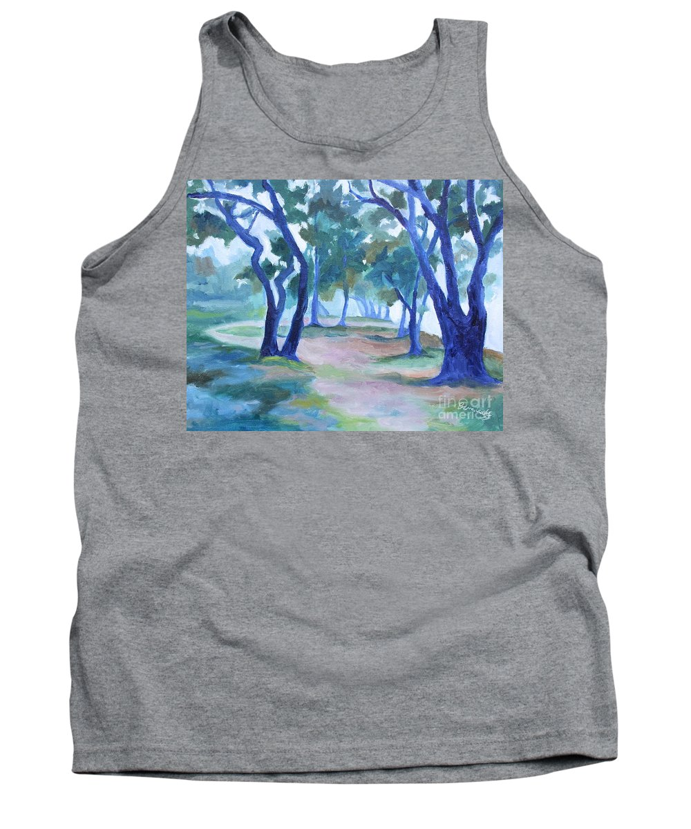 Fog Tank Top featuring the painting Fog Under The Oaks by Jan Bennicoff