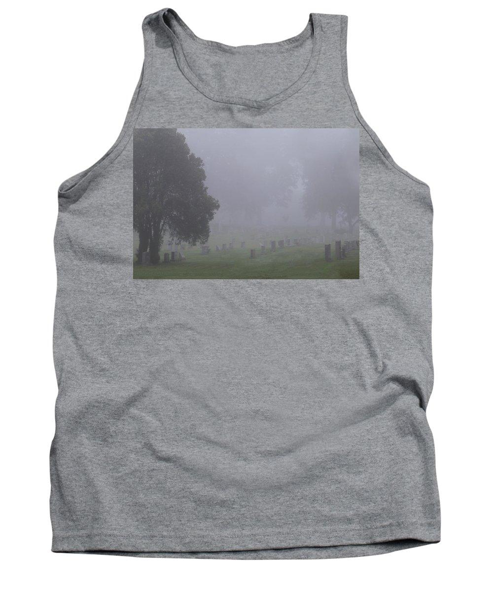 Fog Tank Top featuring the photograph Foggy Cemetery by Sharon Horn