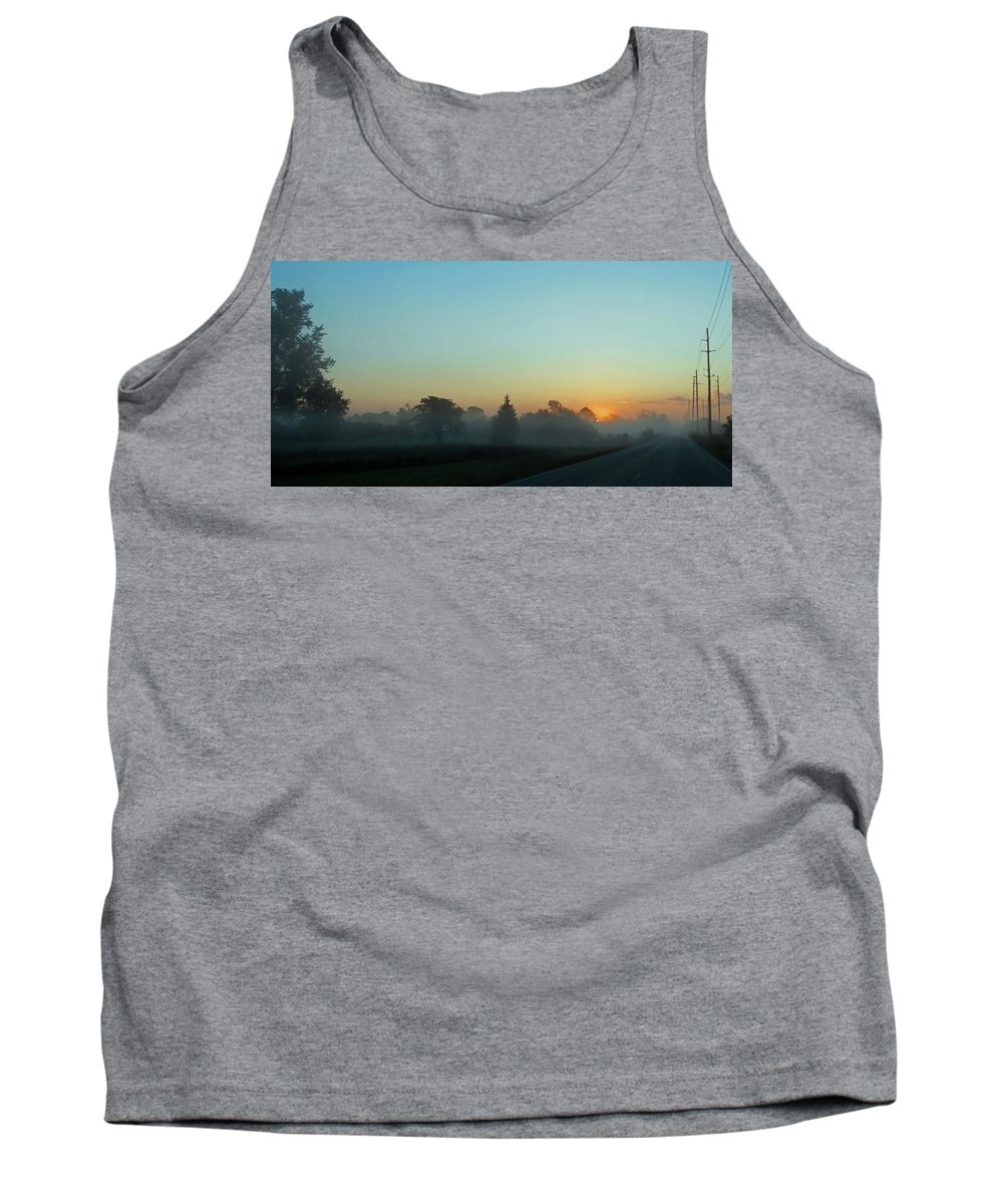 Sunrise Tank Top featuring the photograph Foggy Morning Sunrise by Dan McCafferty