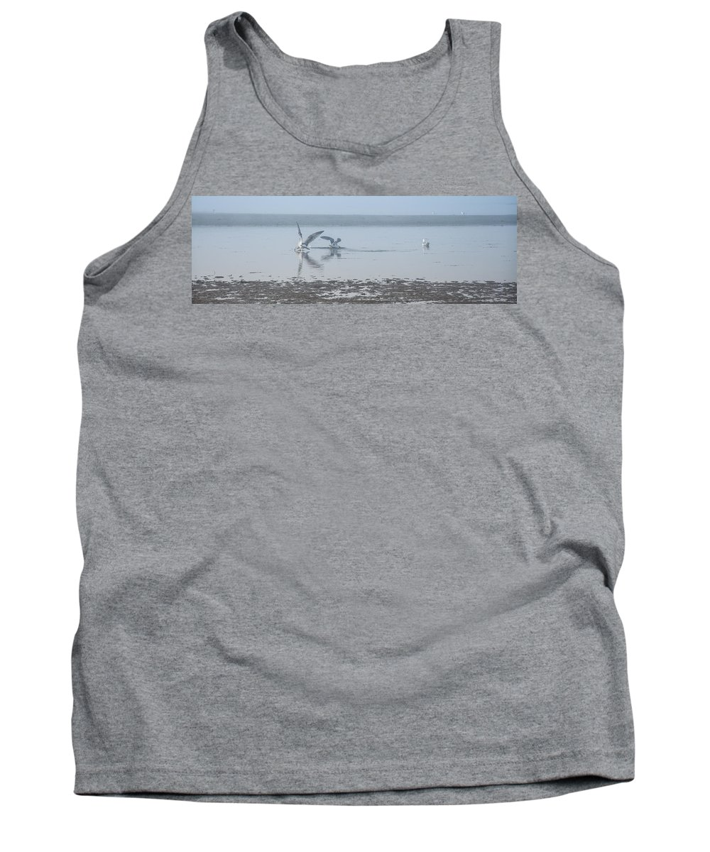 Fog Tank Top featuring the photograph Foggy Seabirds Low Tide Buffet by Roxy Hurtubise