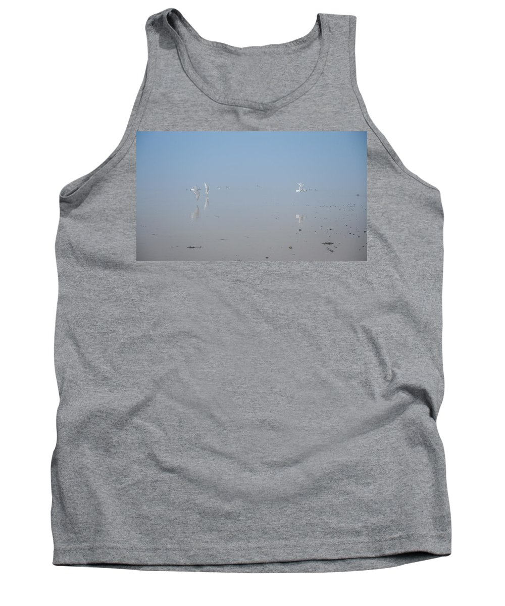 Fog Tank Top featuring the photograph Foggy Seabird Gathering Reflections by Roxy Hurtubise