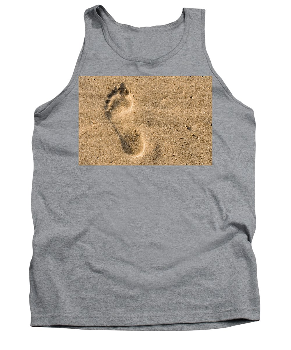 Beach Tank Top featuring the photograph Footprint In The Sand by Georgette Grossman