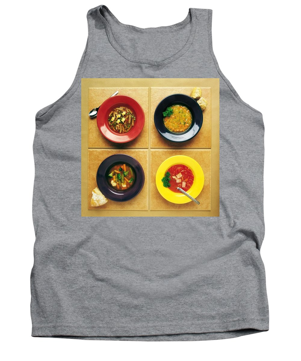 Bowl Tank Top featuring the photograph Four Dishes Of Different Food by Ron Nickel