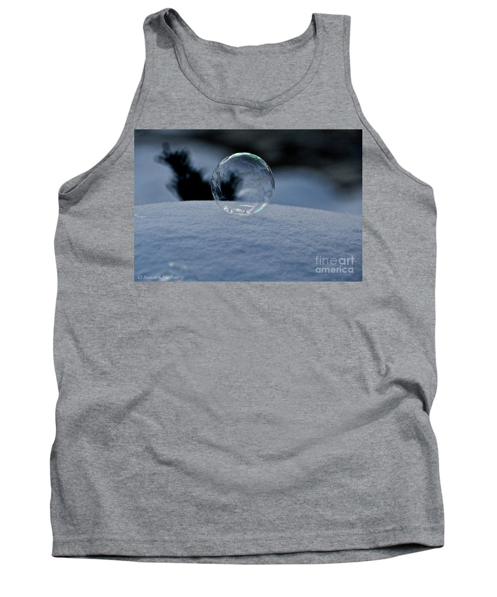 Snow Tank Top featuring the photograph Fragile Globe by Susan Herber
