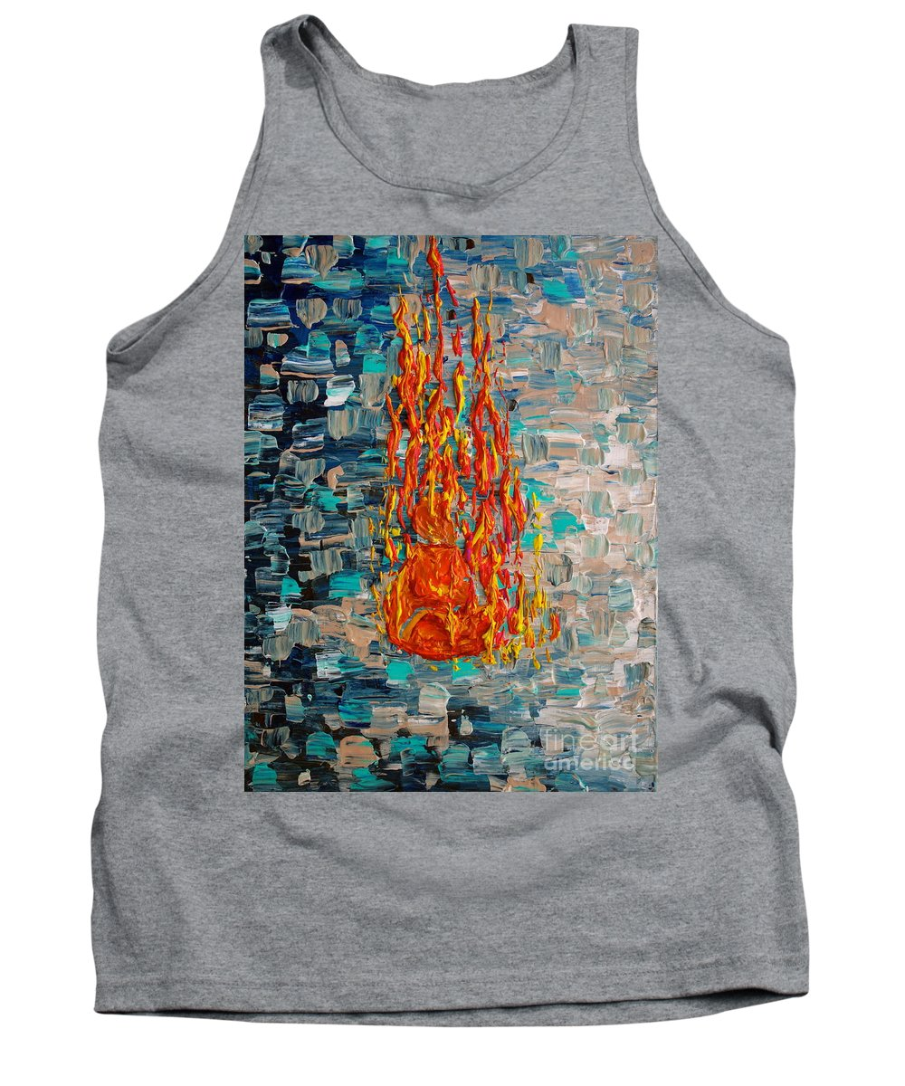 Self Immolated Tank Top featuring the painting Free Tibet by Jacqueline Athmann
