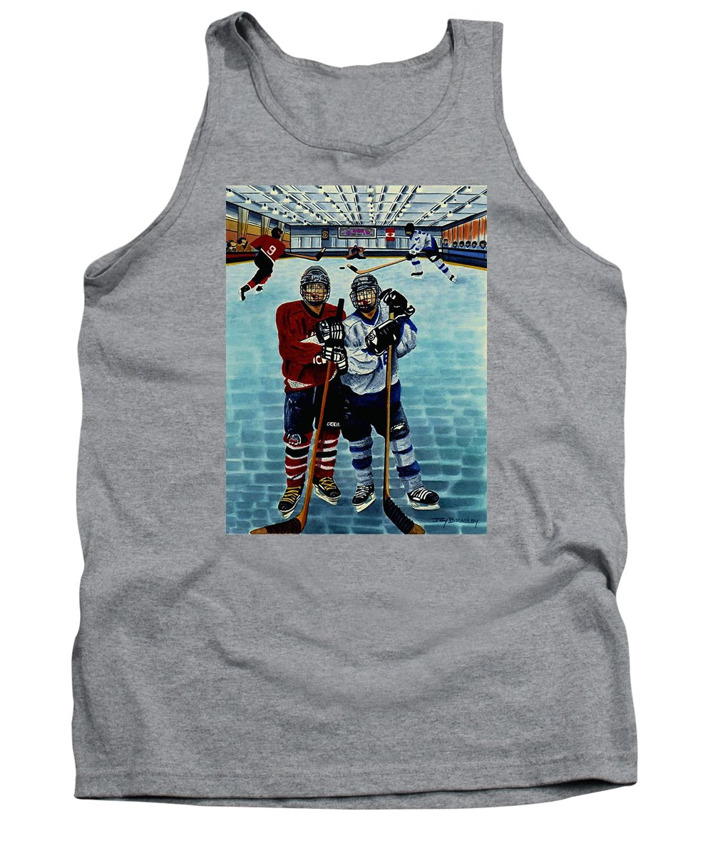 Friends Tank Top featuring the painting Friends And Foes by Joy Bradley