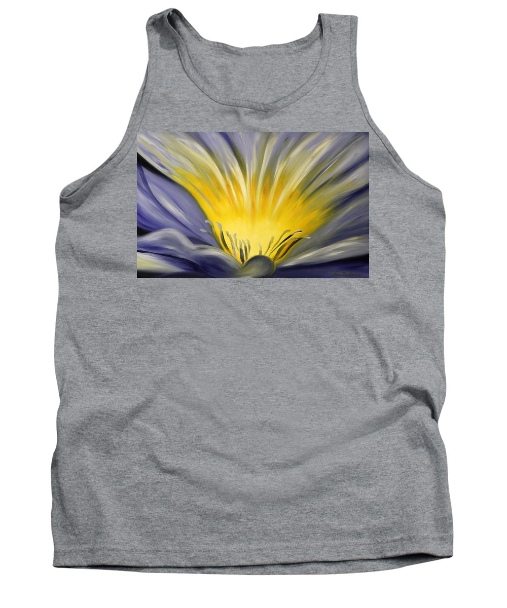Blue Tank Top featuring the painting From The Heart Of A Flower Blue by Gina De Gorna