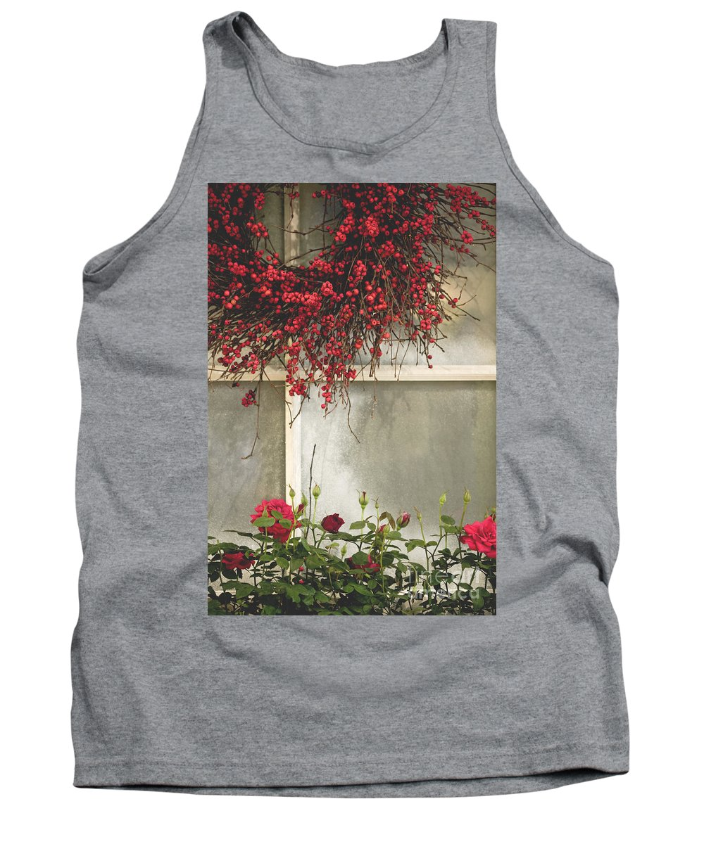 Window; Frost; Windowpane; Frosted; Wreath; Christmas; Red; Flowers; Country; House; Wooden; Home; Glass Tank Top featuring the photograph Frosted Windowpane by Margie Hurwich