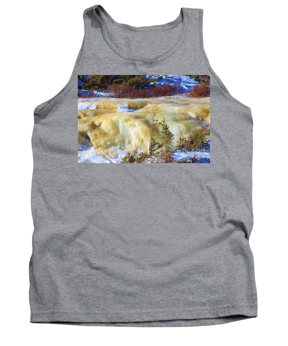 Frozen Tank Top featuring the photograph Frozen Falls by Tonya Hance