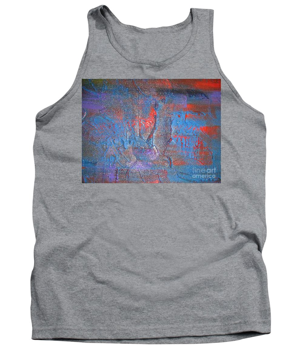 Abstract Tank Top featuring the painting Funny Rain by Silvana Abel