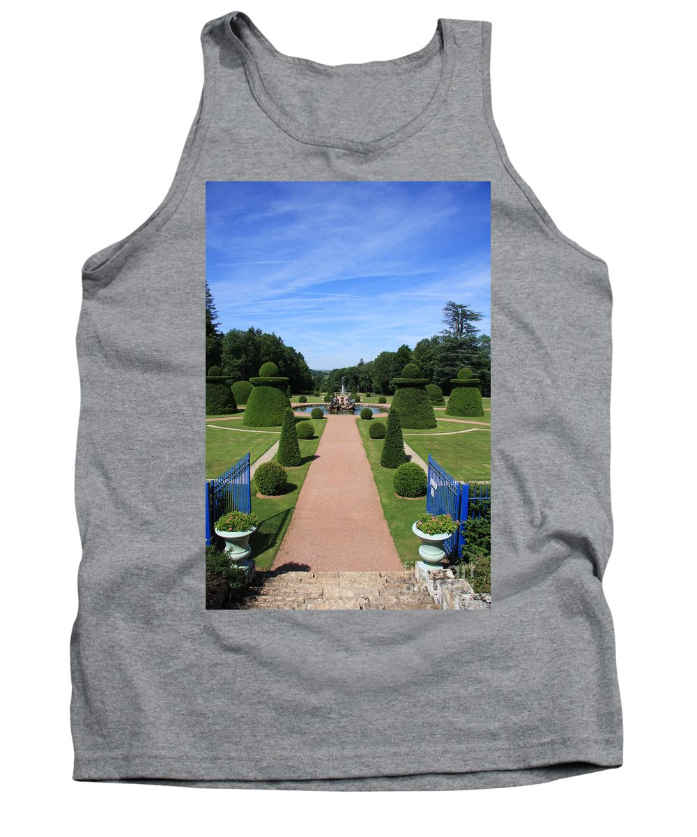 Path Tank Top featuring the photograph Gardenpath With Blue Gates - Burgundy by Christiane Schulze Art And Photography