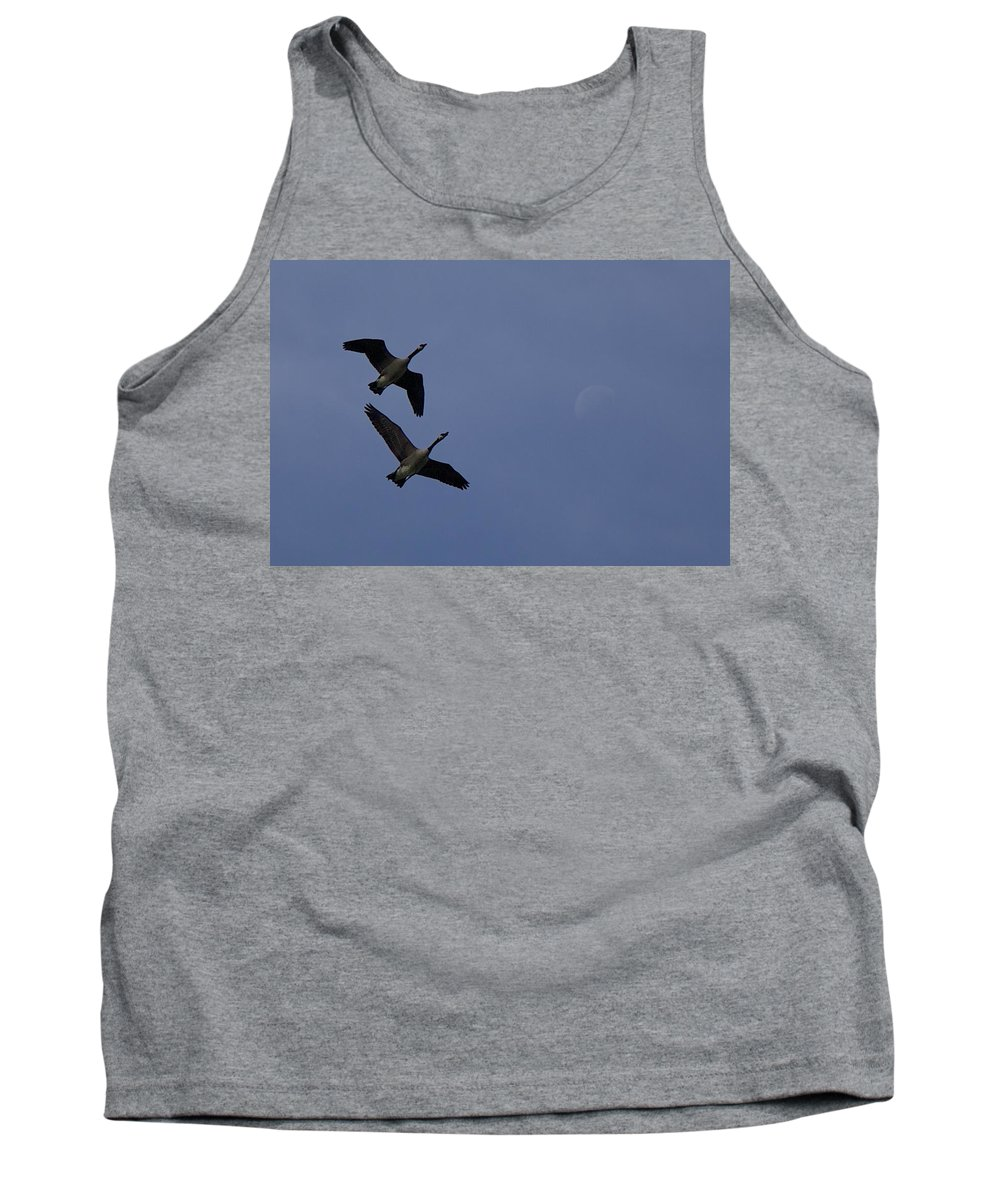 Migrating Geese Tank Top featuring the photograph Geese And Moon by Allan Morrison