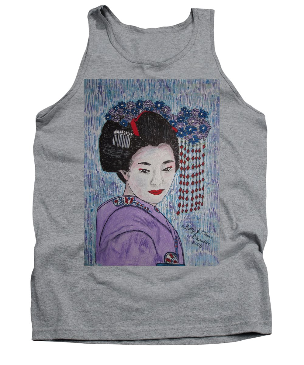 Oriental Tank Top featuring the painting Geisha Girl by Kathy Marrs Chandler
