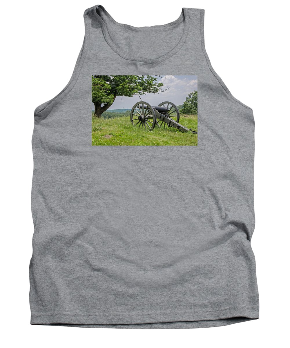 Gettysburg Tank Top featuring the photograph Gettysburg Cannon by Susan McMenamin
