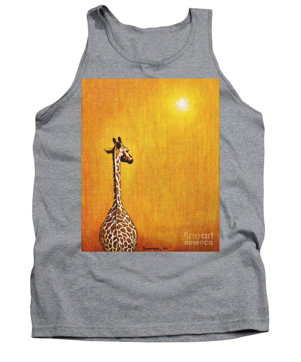 Giraffe Tank Top featuring the painting Giraffe Looking Back by Jerome Stumphauzer