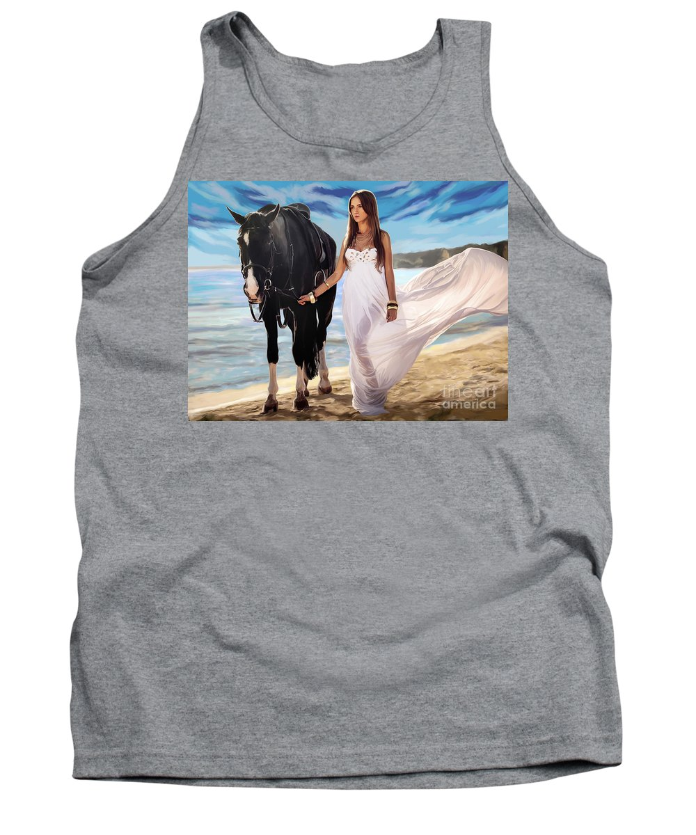 Girl Tank Top featuring the painting Girl And Horse On Beach by Tim Gilliland