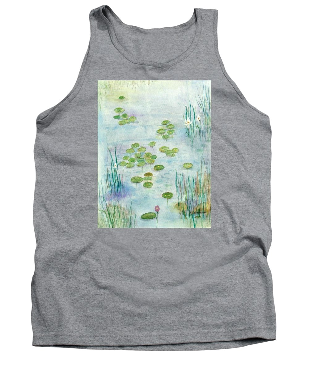 Water Lilies Tank Top featuring the mixed media Giverny Dreaming by Barbie Corbett-Newmin