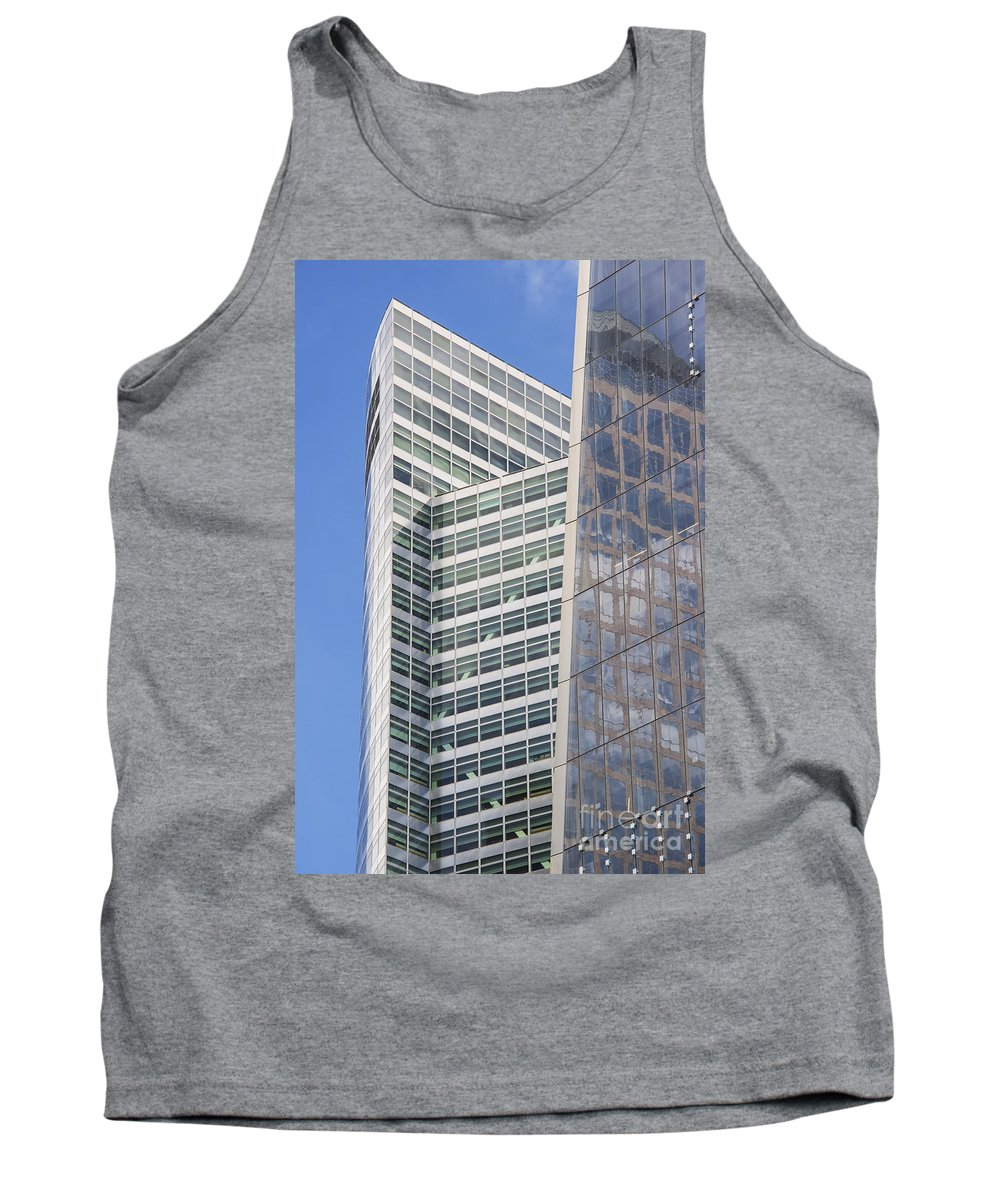 New York City Cityscape Cityscapes Building Buildings Architecture Cities Structure Structures Skyscraper Skyscrapers Line Lines Window Windows Reflection Reflections Tank Top featuring the photograph Glass Architecture by Bob Phillips