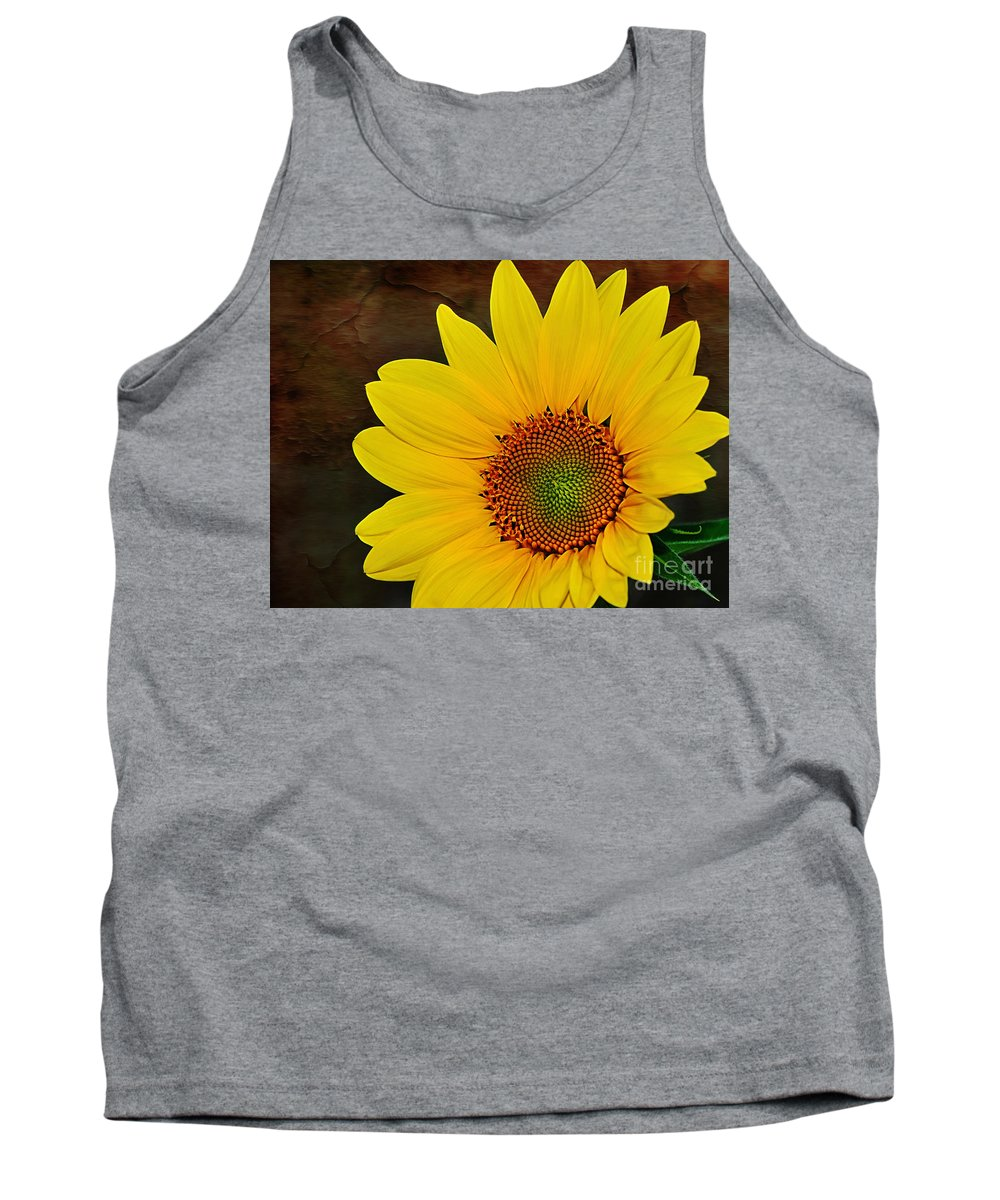Photography Tank Top featuring the photograph Glowing Sunflower by Kaye Menner